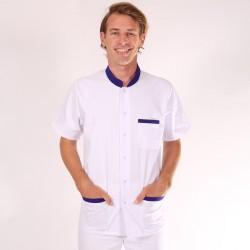 Blouse médicale homme col bleu - Claudio manches courtes promotions pas cher confortable