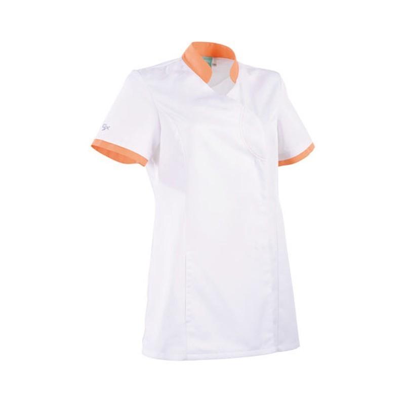 Blouse clemix cintrée 2LIN blanche et orange