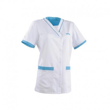 Tunique médicale 2ALE blanc & bleu ciel
