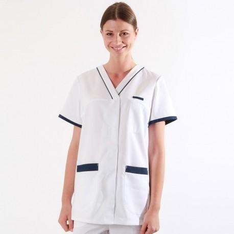 Tunique médicale 2ALE blanc & bleu marine