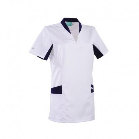 Tunique médicale blanche et bleu marine 2LAU