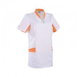 Tunique médicale blanche et orange 2LAU