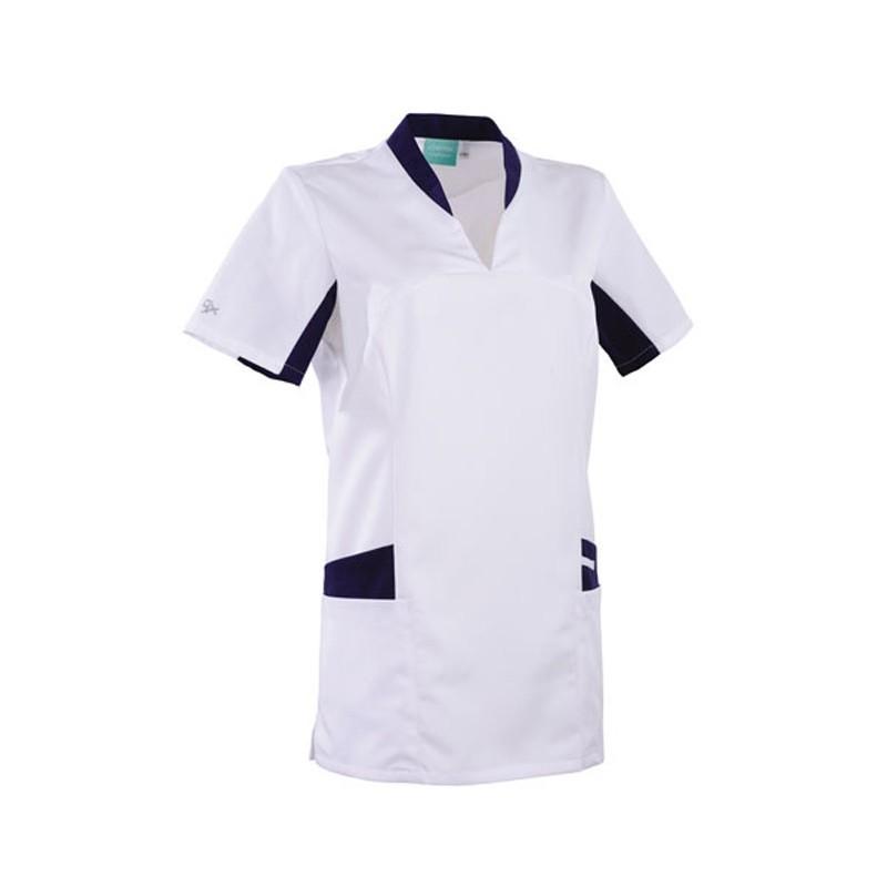 Tunique médicale blanche et bleu 2LAU