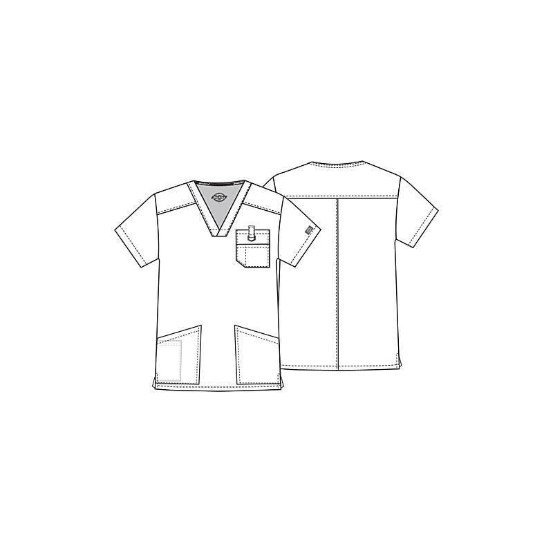Tunique médicale gris homme col V 3 poches