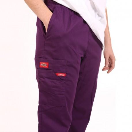 Pantalon médical ceinture élastique Dickies violet  infirmiere aide soignant hopital pas cher promotion
