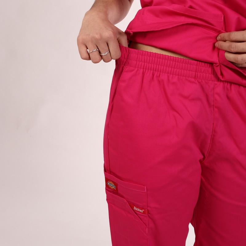 Pantalon médical ceinture élastique Dickies rose homme femme mixte pas cher promotion confortable infirmière aide soignantes