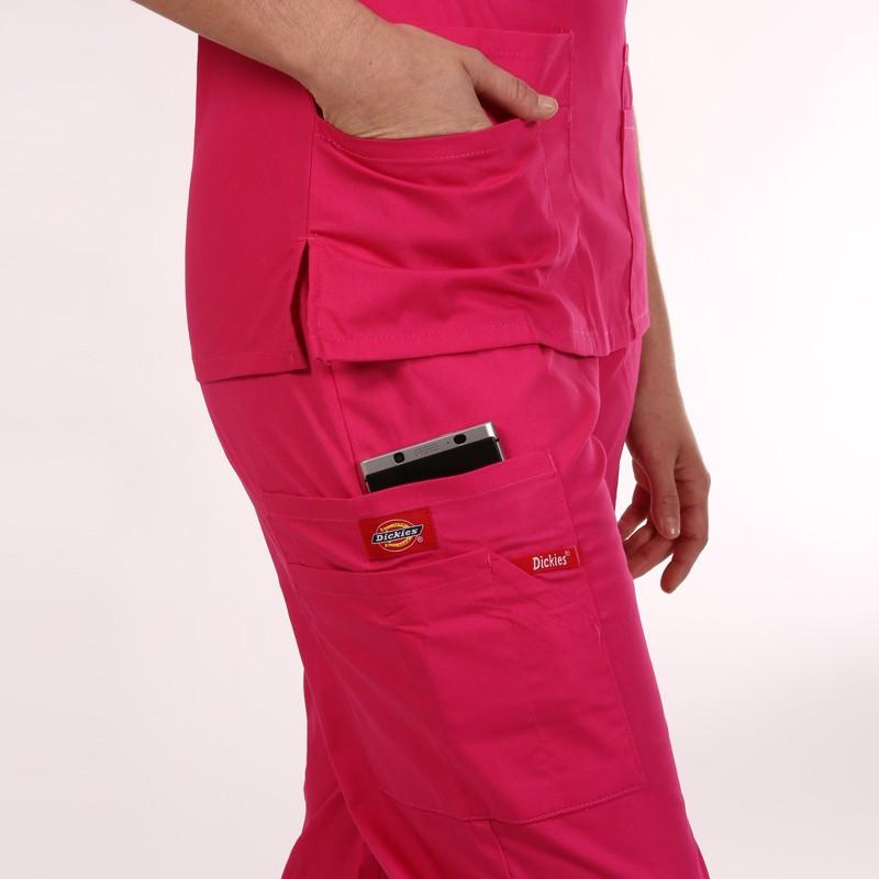 Pantalon médical ceinture élastique Dickies rose homme femme mixte pas cher promotion confortable infirmière aide soignante