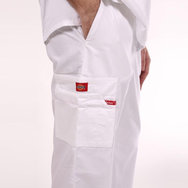 Pantalon médical ceinture élastique Dickies blanc homme femme mixte pas cher promotions confortable infirmières aide soignantes