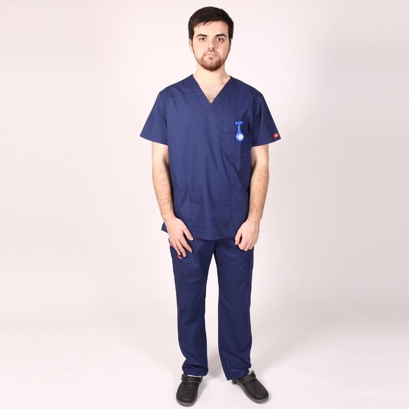 Pantalon médical ceinture élastique Dickies marine  infirmier aide soignant hopital pas cher promotion