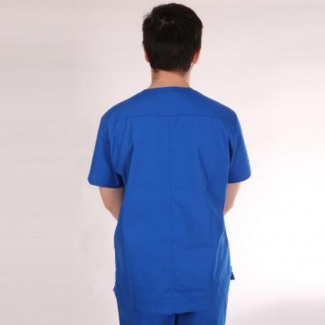 Tunique médicale bleu royal homme col V 3 poches