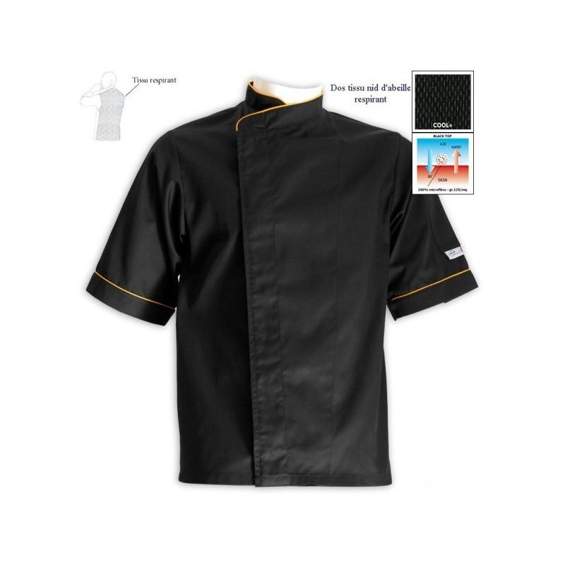 Giacca da cuoco grandi taglie nera con bordi arancio