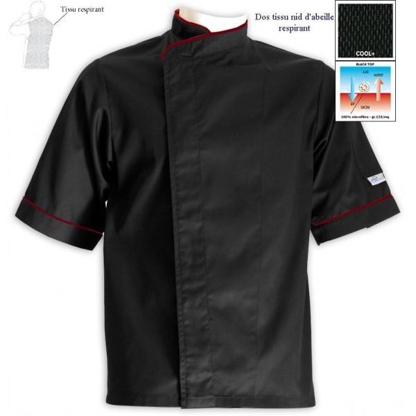 Veste de cuisine grande taille noire liseré bordeaux