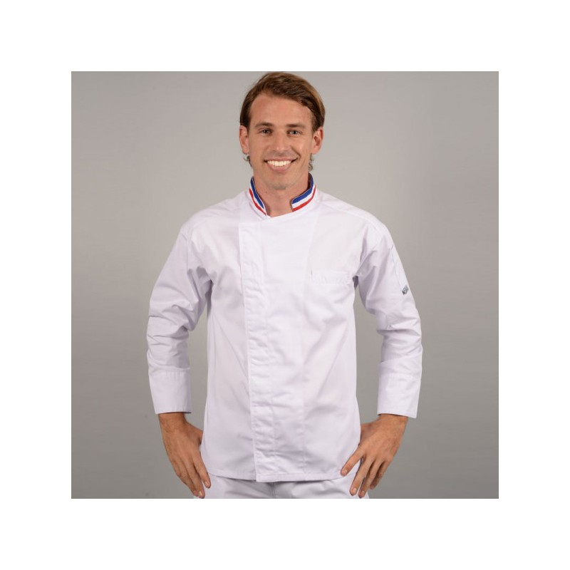 Veste De Cuisine MOF Col Bleu Blanc Rouge Broderie Possible - Broderie veste de cuisine