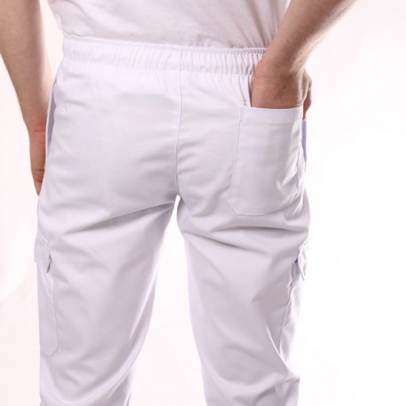 Pantalon de boulanger blanc poches latérales