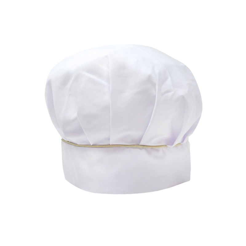 Toque de cuisine blanche à liseré doré