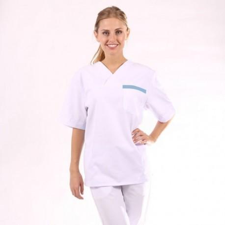 Blouse médicale mixte blanc et bleu ciel manche courte promotions