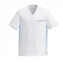Blouse médicale mixte blanc et bleu ciel pas cher promo manche courte