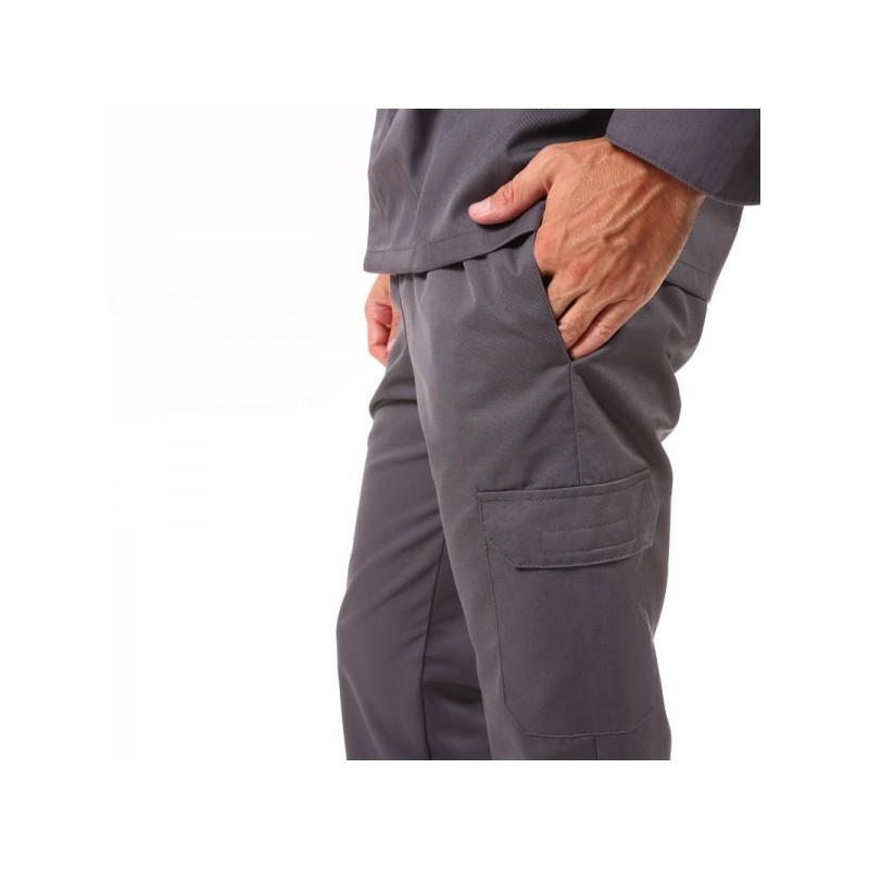 Pantalon de boucher gris poches latérales