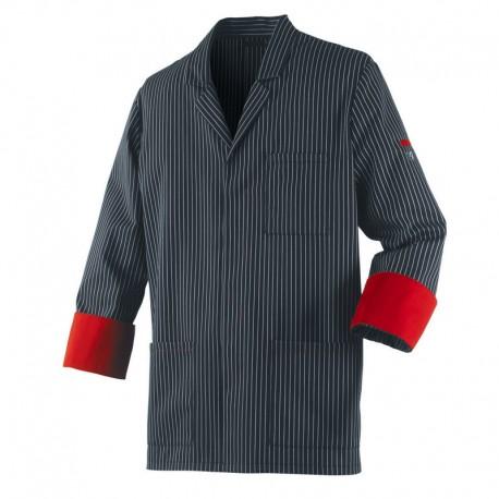 Veste de cuisine ARDOISE Robur, rayé noir et blanc avec revers de manche rouge