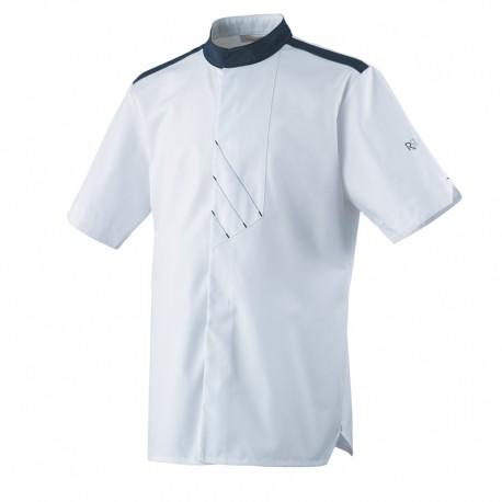 Veste de cuisine VEDI Robur, blanche avec liseré gris, original, manche courte