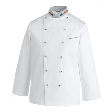 Veste de cuisine drapeaux européen, blanche pour homme, veste pour cuisinier prestige