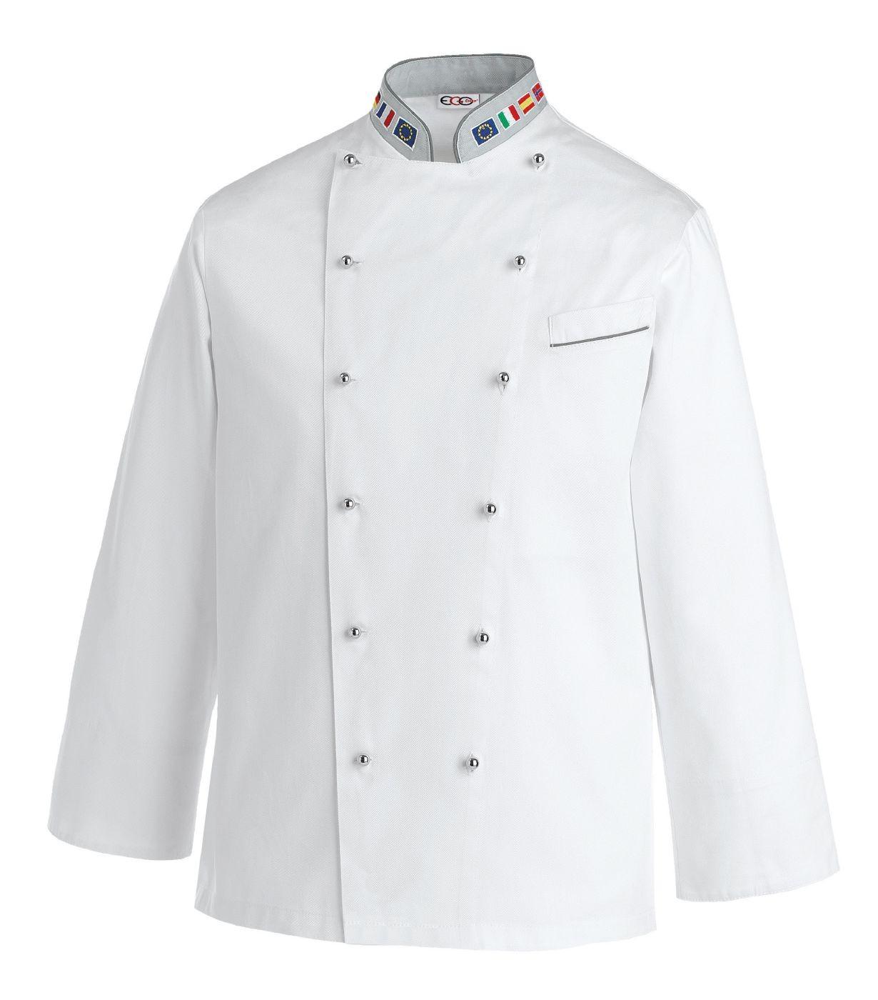 Veste De Cuisine Europe Avec Col Drapeau Européen - Broderie veste de cuisine