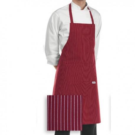 Tablier de Cuisine bordeaux rayures blanches