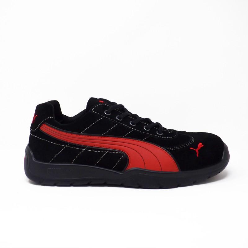 Baskets mixtes de sécurité Puma Silverstone S1P. Rouge et noire, chaussure de securite performante.