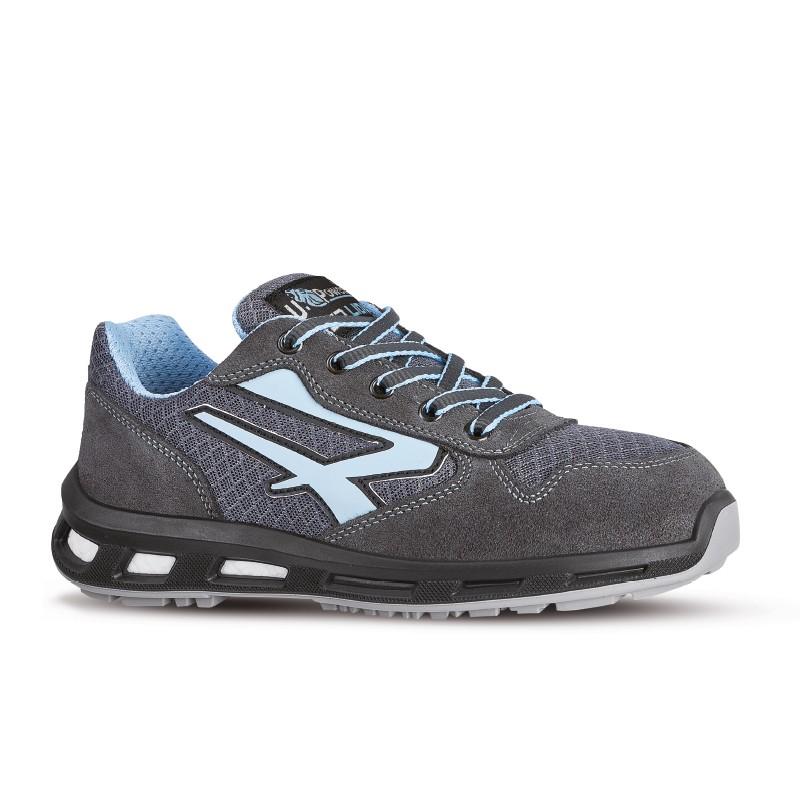 Chaussures de sécurité LOLLY S1P SRC. Gris et bleu. Basket normée légère avec coque à l'avant.