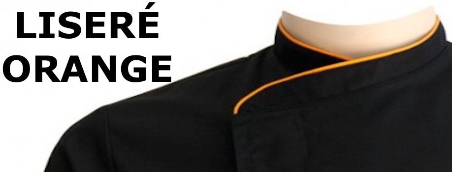 Veste de Cuisine Noire homme - liseré Orange