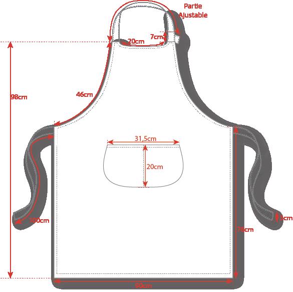 Dimensions tablier bavette Toptex 90x76