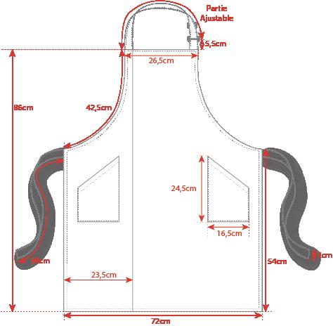 Dimensions tablier bavette Toptex bicolore