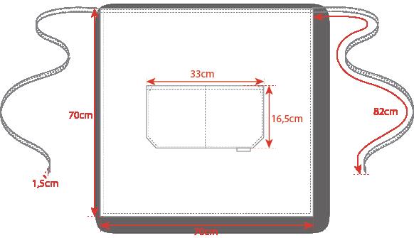 Dimensions tablier service Egochef 70x70