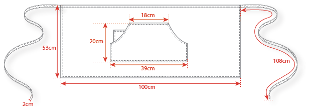 Dimensions tablier jean denim Manelli
