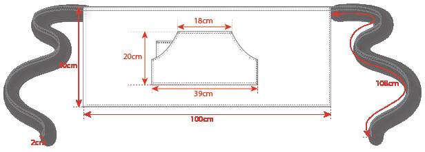 Dimensions tablier tbarman jean denim Manelli